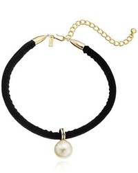 Kenneth Jay Lane Black Velvet Choker With Pearl Drop Center Choker Necklace