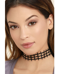 LuLu*s Gridlock And Key Black Choker Necklace