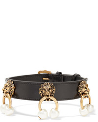 Gucci Leather Gold Tone And Faux Pearl Choker Black