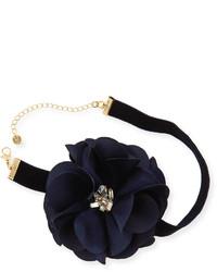 Lydell NYC Statet Flower Ribbon Choker Necklace Black