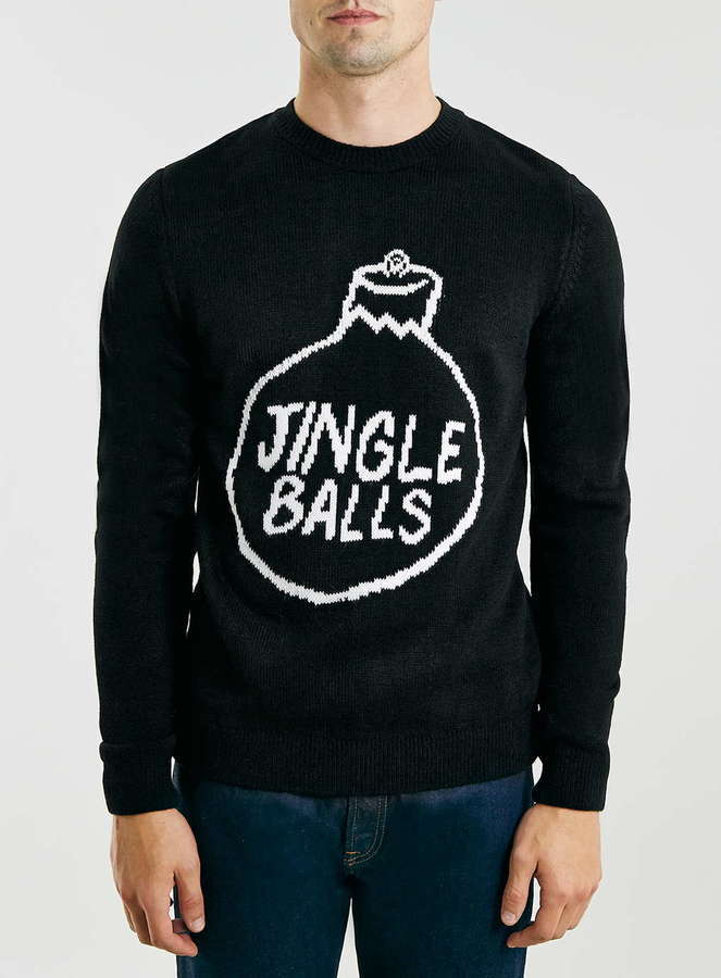 topman black jingle balls crew neck christmas sweater - Black Christmas Sweater