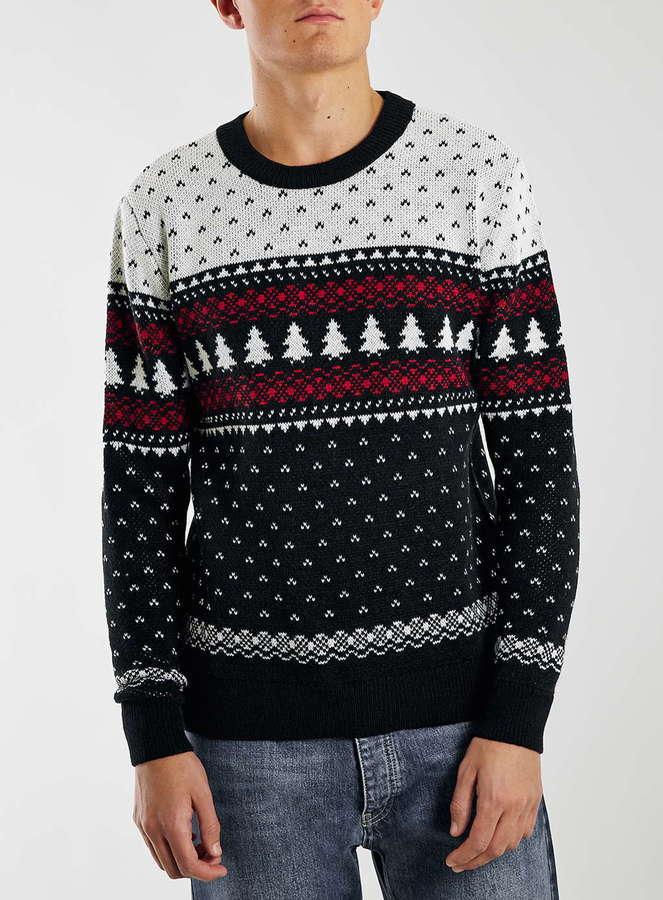 Topman Black Tree Crew Neck Christmas Sweater Where To Buy How