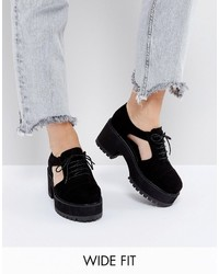 Asos Oake Wide Fit Cut Out Chunky Lace Up Shoes