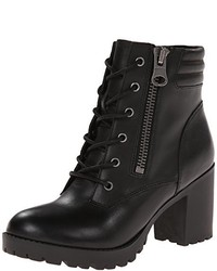 Black Chunky Lace-up Ankle Boots