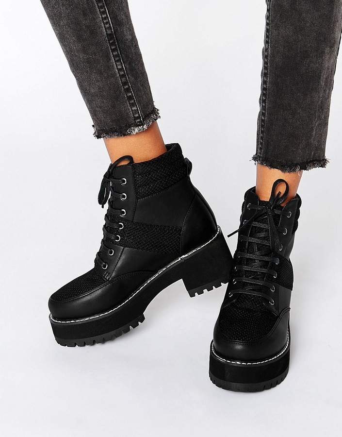 Asos Rator Chunky Lace Up Ankle Boots