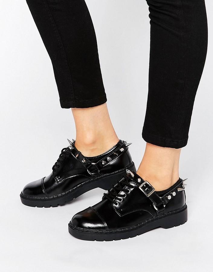 e9851a65a3e ... T.U.K. Argyll Spike Harness Lace Up Chunky Leather Flat Shoes ...