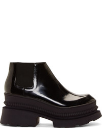 Kenzo Black Leather Platform Chelsea Boots