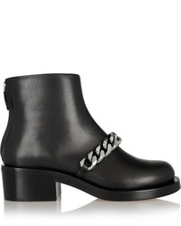 Chain embellished glossed leather ankle boots black medium 1054434