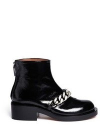 Givenchy Chunky Chain Saffiano Leather Ankle Boots