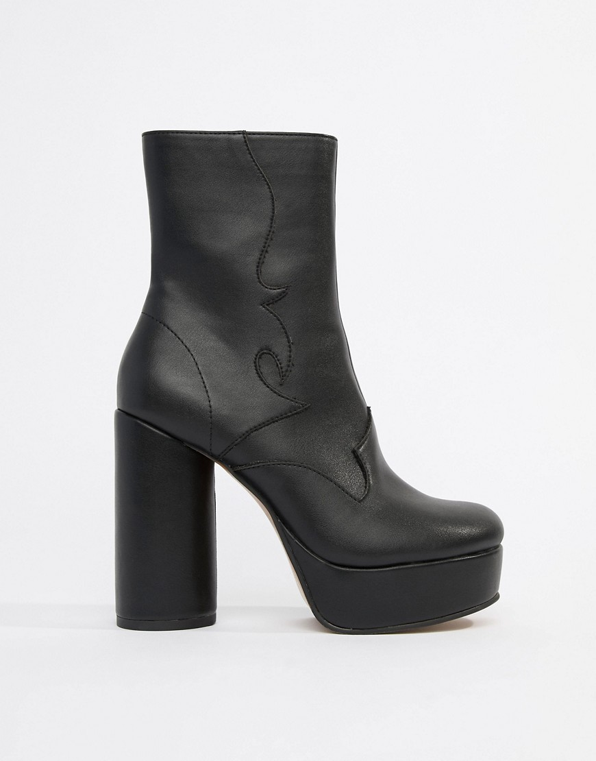 bbd5fa9585 ... Black Chunky Leather Ankle Boots ASOS DESIGN Evade Western Platform  Boots