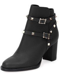 Garavani rockstud leather 70mm chunky heel bootie medium 676301