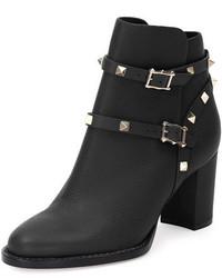 Valentino Garavani Rockstud Leather 70mm Chunky Heel Bootie