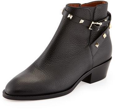 745eb252c11df Valentino Garavani Rockstud Leather 70mm Chunky Heel Bootie, $1,295 ...