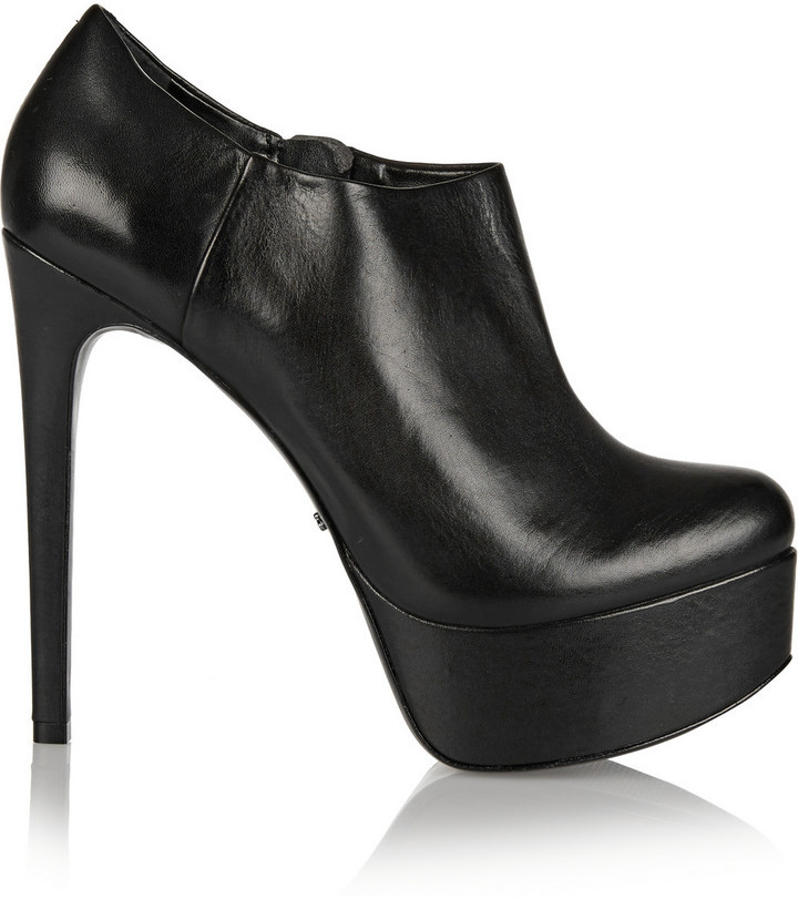 Schutz Jeannifer Leather Platform Ankle Boots | Where to buy & how ...