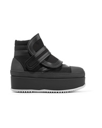 Marni Leather Canvas And Rubber Ankle Boots
