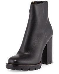 Prada Leather Chunky Heel Ankle Boot Black