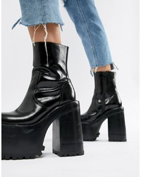 0075931ebb1f ... Jeffrey Campbell Leather Extreme Chunky Platform Ankle Boots In Black