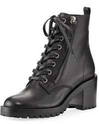 Gianvito Rossi Leather Lace Up Chunky Bootie