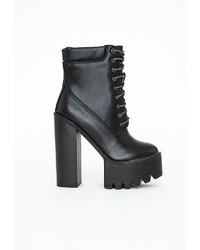 Missguided Jordan Cleated Platform Heeled Ankle Boots Black