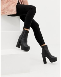 Missguided Platform Heeled Ankle Boot In Black