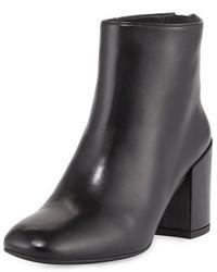 Stuart Weitzman Bacari Leather Chunky Heel Bootie Black
