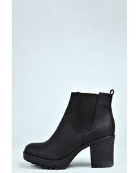 Boohoo Tia Chunky Cleated Heel Chelsea Boot