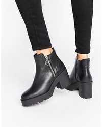 Mango Zip Detail Chunky Ankle Boot