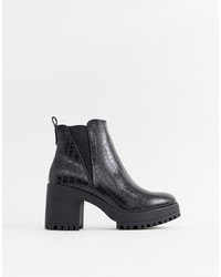 Missguided Croc Chelsea Chunky Ankle Boot In Black