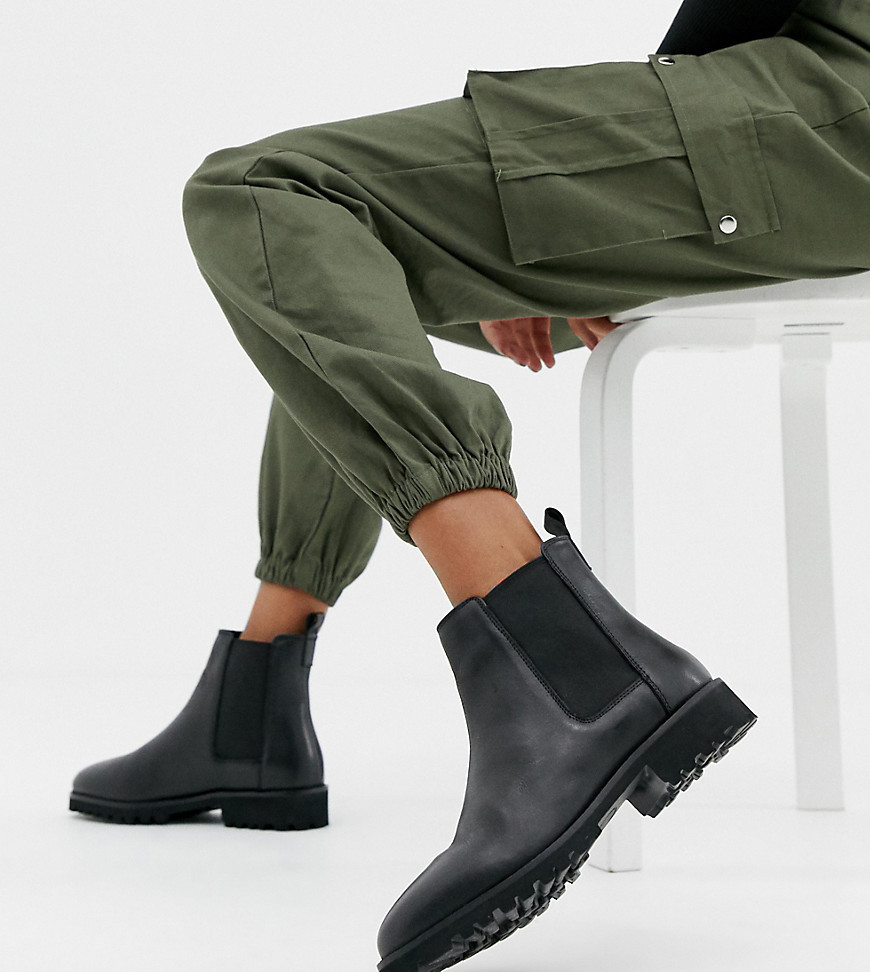 ASOS DESIGN Wide Fit Addie Leather
