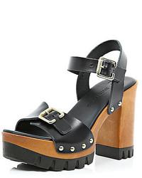 River Island Black Leather Chunky Heeled Sandals