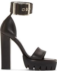 Alexander McQueen Black Leather Platform Sandals