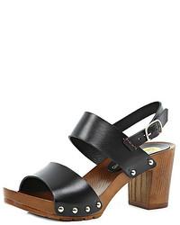 River Island Black Leather Wooden Heel Clog Sandals