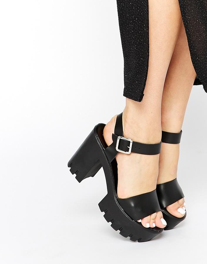 927b534d187 ... Asos Collection Hazeline Leather Heeled Sandals ...