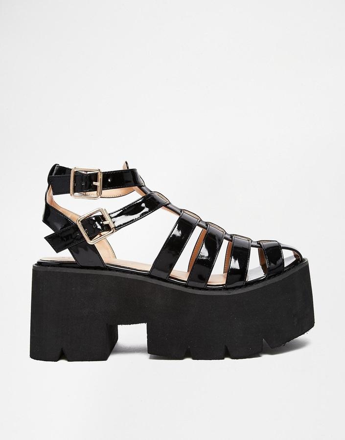 51873699b66 ... Leather Heeled Sandals Daisy Street Black Chunky Gladiator Sandals ...