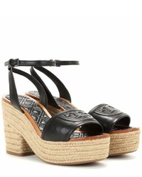 Tory Burch Fleming Platform Espadrille Style Leather Sandals