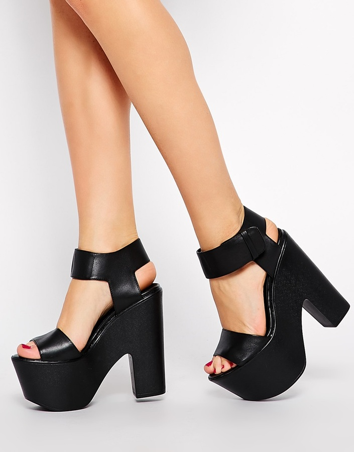 Windsor Smith Leon Black Leather Platform Heeled Sandals | Where ...