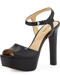 MICHAEL Michael Kors Michl Michl Kors Trish Leather Platform Sandal Black