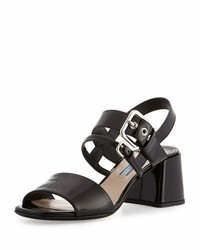 Prada Patent 55mm Chunky Heel Sandal Nero