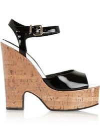 Fendi Patent Leather And Glossed Cork Platform Sandals