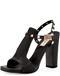 Rockstud t strap 105mm sandal nero medium 524127