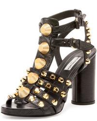 Balenciaga Studded Chunky Heel Cage Sandal Black