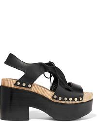 Balenciaga Studded Cutout Leather Platform Sandals