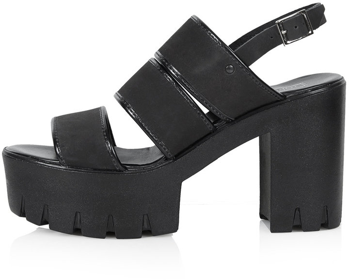 Topshop Black Nubuck Leather Multi Strap Chunky Platform Sandals
