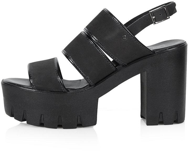 Topshop Black Nubuck Leather Multi Strap Chunky Platform Sandals ...
