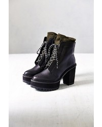 Black Chunky Leather Lace-up Ankle Boots