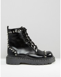 T.U.K. Anarchic Stud Lace Up Chunky Leather Flat Ankle Boots