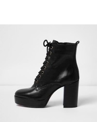 River Island Black Leather Platform Heel Boots