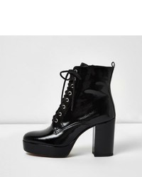 River Island Black Patent Leather Platform Heel Boots