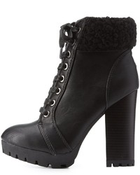 Charlotte Russe Bamboo Faux Shearling Lace Up Booties