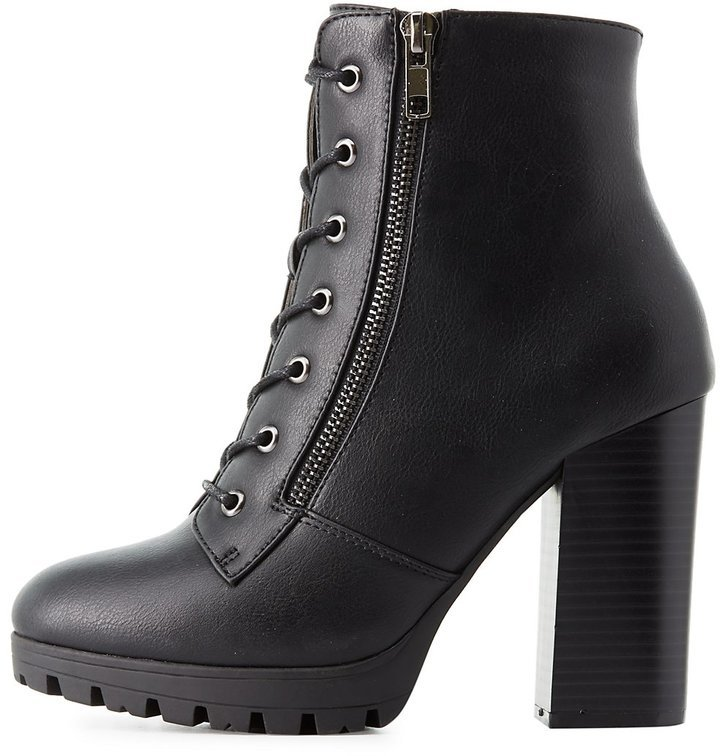 Charlotte Russe Lace Up Chunky Combat Boots